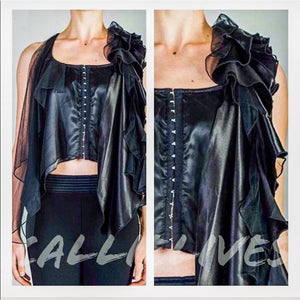 Callie Hooked: Sleeveless Satin & Chiffon Top - callielives