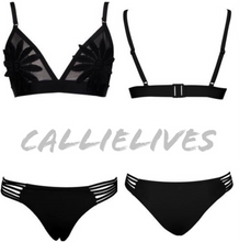 Load image into Gallery viewer, Stasia Flowerkini: Cut Out Triangle Bikini (White or Black) - callielives