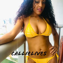 Load image into Gallery viewer, Stasia Blind Eye: Yellow Triangle Bikini Swimsuit - callielives