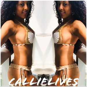Xena Goddess Seashells: Gold Beaded Crochet Bikini - callielives