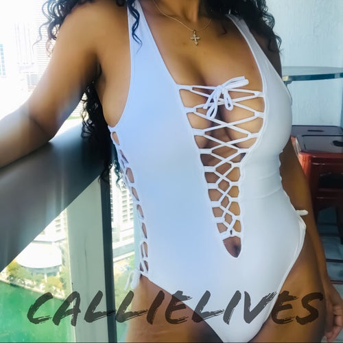 Callie All Laced Up: One Piece White Swimsuit XL