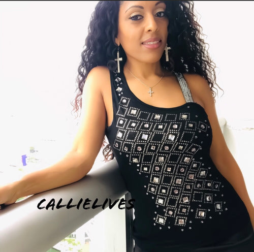 Callie Shine: Black Diamond One Shoulder Tank Top - callielives