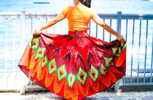 Load image into Gallery viewer, Callie Peacock Maxi: Ankara Feather Skirt and Handbag Set - callielives