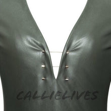 Load image into Gallery viewer, Xena Gold Bar: Green Vegan Leather High Slit Dress - callielives