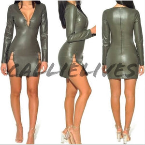Xena Gold Bar: Green Vegan Leather High Slit Dress, Dresses, CallieLives