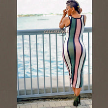 Load image into Gallery viewer, Callie Blush Olives: Racerback Striped Midi Dress