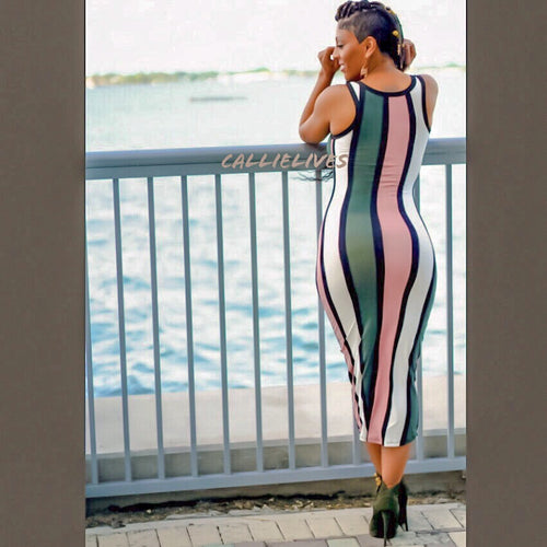 Callie Blush Olives: Racerback Striped Midi Dress
