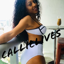 Load image into Gallery viewer, Callie Color Block: White High Waist Pin-Up Bikini