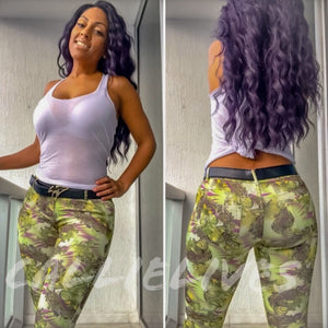 Miz Booty Shaper: Skinny Pants Purple Green Asian - callielives