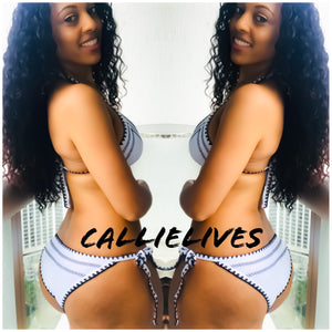 Callie Stitched: White Contrast String Bikini - callielives