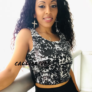 Callie Sequin: Salt and Pepper Short and Hot Crop Top - callielives