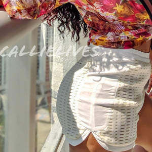 Callie Ivory Laser Cut Shorts - callielives