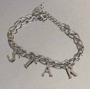"Stasia Star Charm Bracelet: 10"" Silver Colored Jewelry - callielives"