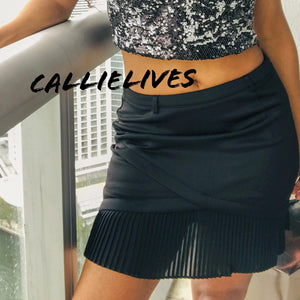 Stasia Ruffle: Black Origami Mixed Mesh MINI SKIRT - callielives