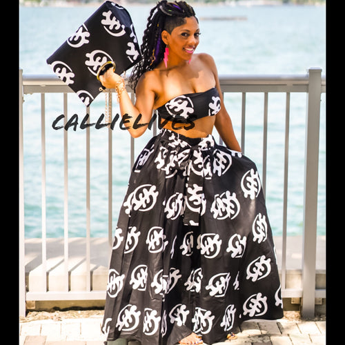 Callie Asiatic Maxi: Ankara Bandeau, Skirt & Handbag Set - callielives