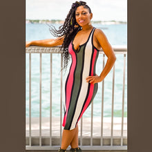 Load image into Gallery viewer, Callie Coral Army: Racerback Striped Midi Dress