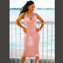 Load image into Gallery viewer, Callie Mauve Dots: Racerback Polka Dot Midi Dress
