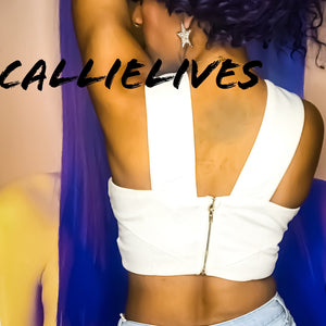 Callie Open Heart: White Sliced halter crop top, Tops, CallieLives