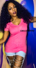 Load image into Gallery viewer, Stasia Neon: Pink VNeck Extra Long T-Shirt Top - callielives