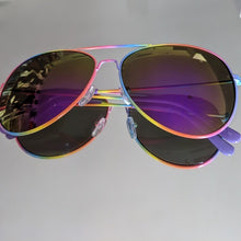 Load image into Gallery viewer, Rainbow Frame Aviators w/Purple Mirrored Lens
