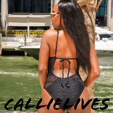 Load image into Gallery viewer, Elaine Curves Tied Lace: Mesh One Piece Swimsuit (PLUS) - callielives