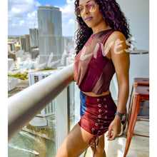 Load image into Gallery viewer, Callie Vegan: Suede Sleeveless Demin Brown Short Set