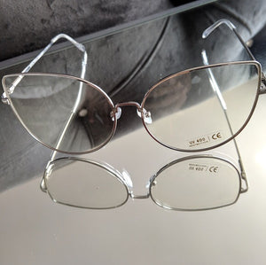 Cateye Oversized Silver Clear Glasses, Accessories, CallieLives