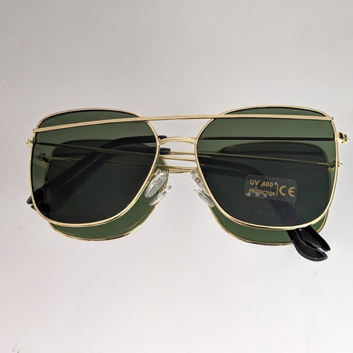Gold Frame Sunglasses with Green Colored Lens