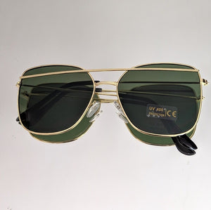 Gold Frame Sunglasses with Green Colored Lens - callielives