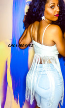 Load image into Gallery viewer, Callie Extra Fringe: Embroidered White Cami Top - callielives