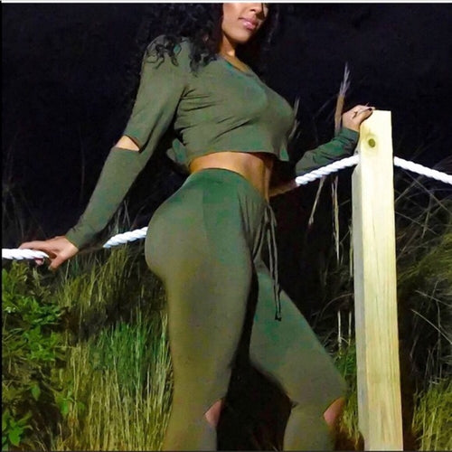 Miz Army: Green CutOut Crop Top Hoodie Set - callielives