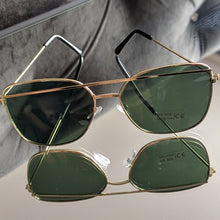 Load image into Gallery viewer, Gold Frame Sunglasses with Green Colored Lens - callielives
