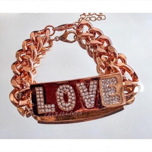 "Rose Gold ""Love"" Chain Link Bracelet & Rhinestones - callielives"