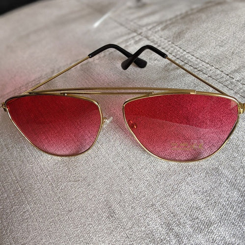 Gold Frame Sunglasses with Red Ombre Colored Lens