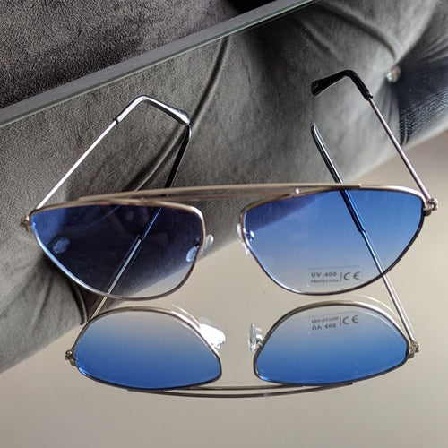 Silver Frame Sunglasses w/ Blue Ombre Colored Lens