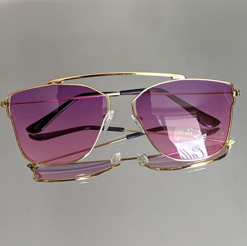 Gold Frame Sunglasses with Magenta Colored Lens