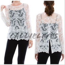 Load image into Gallery viewer, Callie Lace: Long Sleeve Ivory Sheer Lace Top - callielives