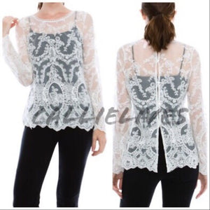 Callie Lace: Long Sleeve Ivory Sheer Lace Top - callielives