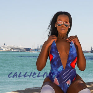 Callie Vintage: Abstract Blue Print Plunge 1-piece, Swimwear, CallieLives