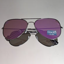 Load image into Gallery viewer, Black Aviator Sunglasses Gold & Purple Mirror Lens