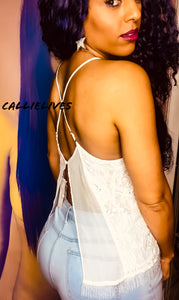Callie Open: Criss Cross Strappy Camisole Lace Top