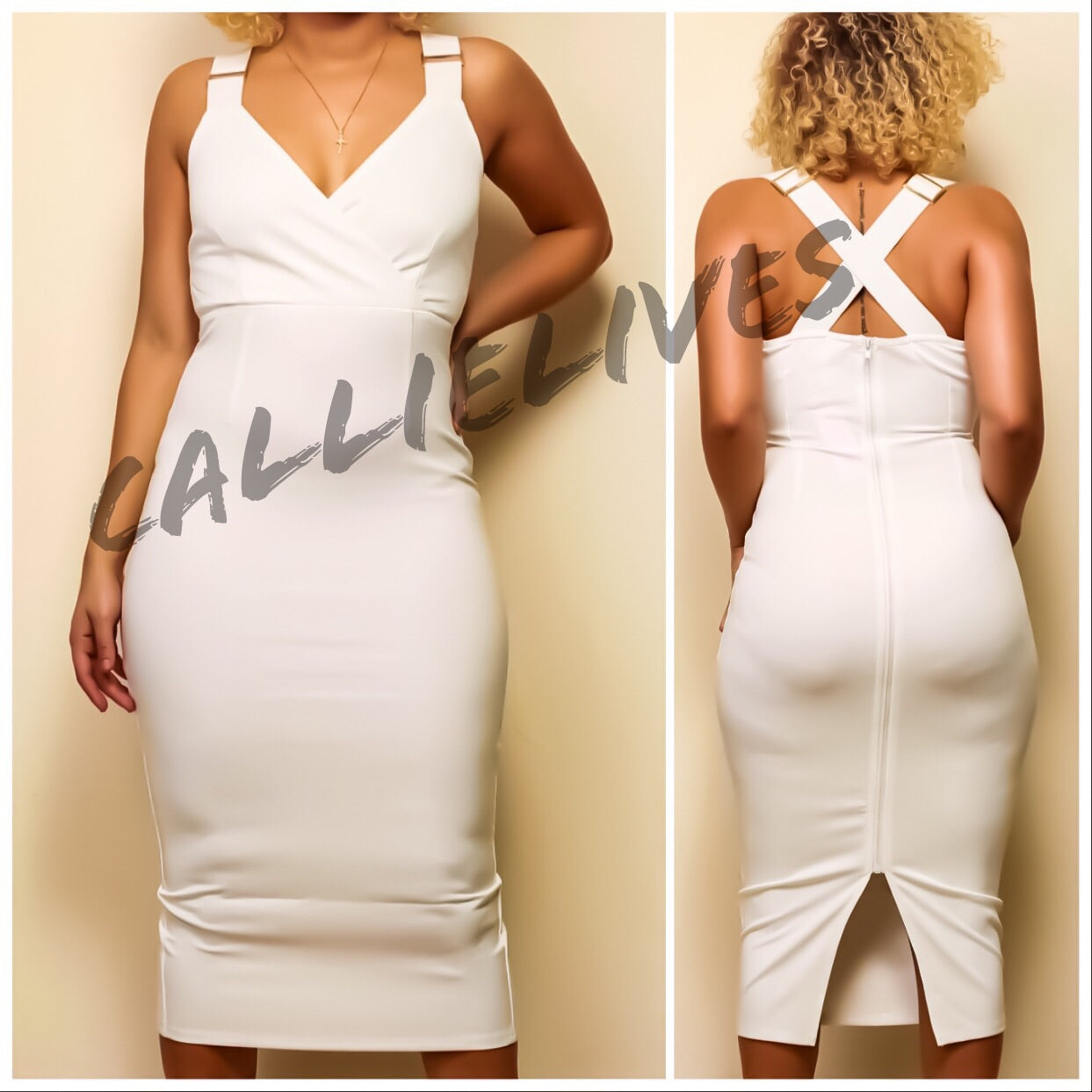 Callie Cross: White Scuba Slimfit Bodycon Dress, Dresses, CallieLives