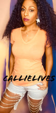 Load image into Gallery viewer, Callie Creamsicle: Orange V-NECK TShirt Rayon Top - callielives