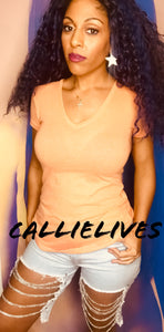 Callie Creamsicle: Orange V-NECK TShirt Rayon Top - callielives