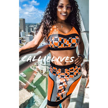 Load image into Gallery viewer, Stasia Geo Orange: Mesh Bralette CropTop Skirt Set - callielives