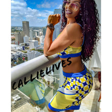Load image into Gallery viewer, Stasia Geo Yellow: Mesh Bralette CropTop Skirt Set - callielives