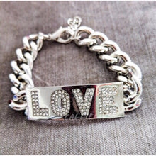 "Load image into Gallery viewer, Silver ""Love"" Chain Link Bracelet with Rhinestones - callielives"