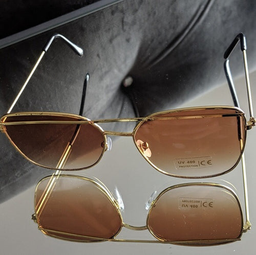 Gold Frame Sunglasses w/Brown Ombre Lens
