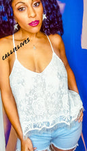 Load image into Gallery viewer, Callie Open: Criss Cross Strappy Camisole Lace Top