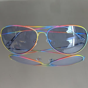 Rainbow Frame Aviators w/ Clear Blue Lens - callielives